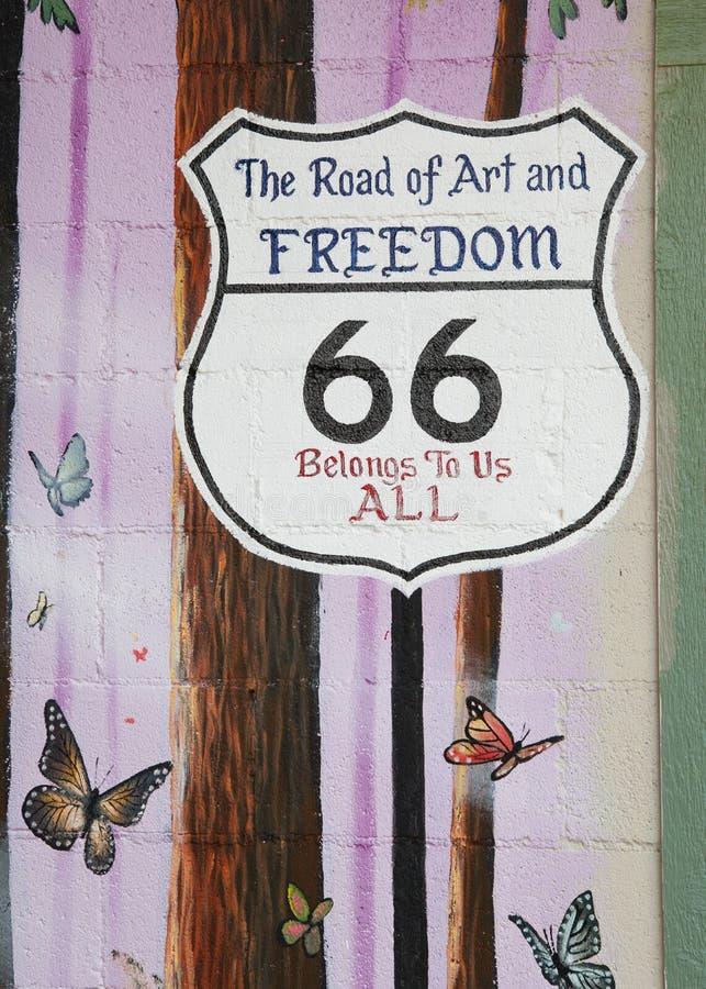 Zeichen des Weg-66 lizenzfreie stockbilder