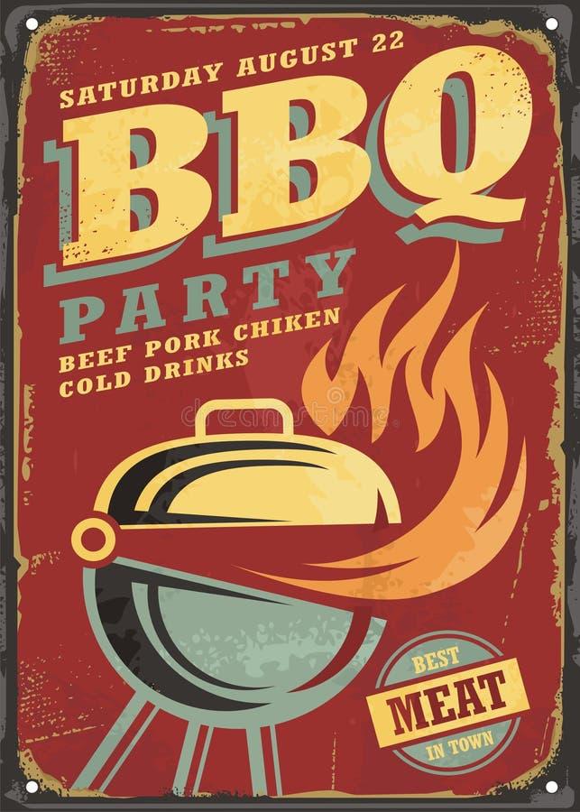 Zeichen-Entwurf BBQ-Partei Retro- lizenzfreie abbildung