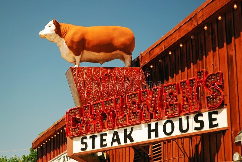 Zeichen für das Steak der Cattlemens, Ft Wert, TX stockbilder