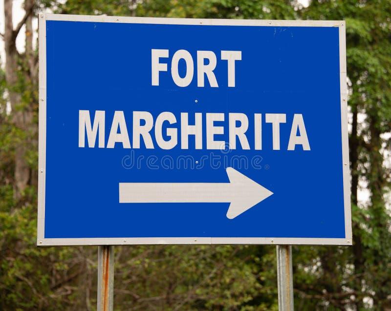 Zeichen für Fort Margherita in Borneo lizenzfreies stockfoto