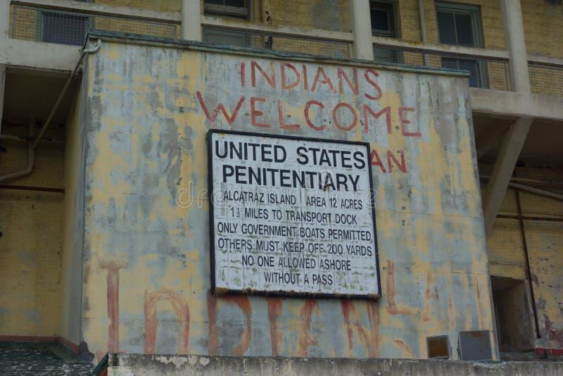 Zeichen für Gefängnis an Alcatraz-Gefängnis stockbild