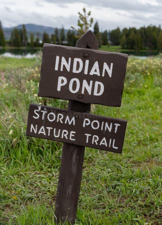 Zeichen für indischen Teich lizenzfreies stockfoto