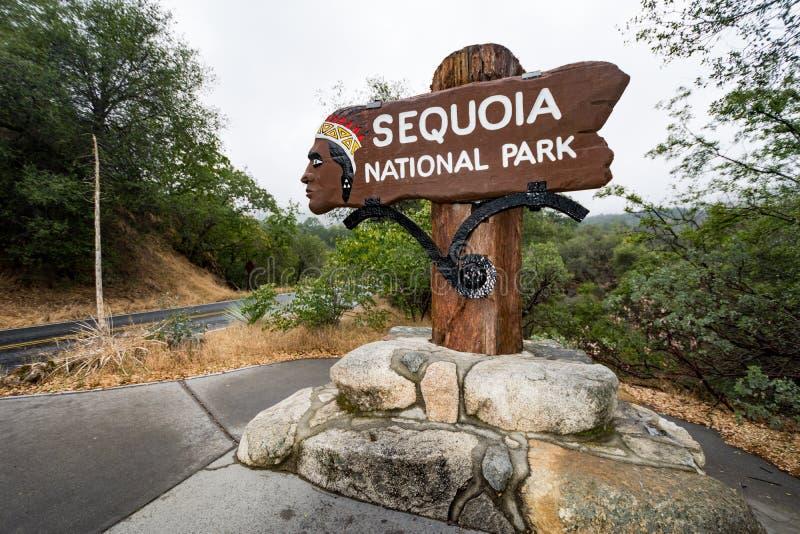 Zeichen für Mammutbaum-Nationalpark lizenzfreies stockbild