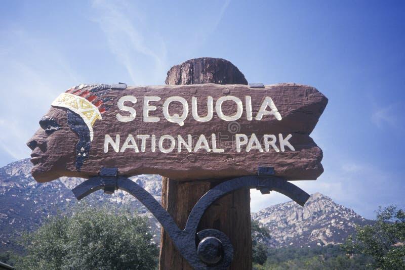 Zeichen für Mammutbaum-Nationalpark lizenzfreie stockfotografie