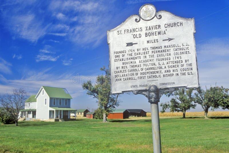 Zeichen für St. Francis Xavier Church, Maryland lizenzfreie stockbilder
