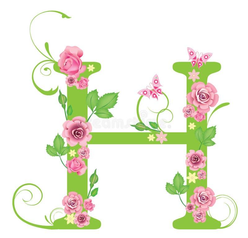 Zeichen H mit Rosen stock abbildung