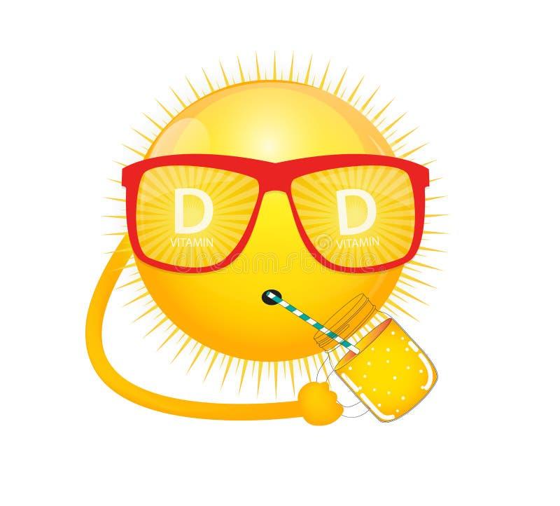 Zeichen-Ikone des Vitamin-D Sun Auch im corel abgehobenen Betrag stock abbildung