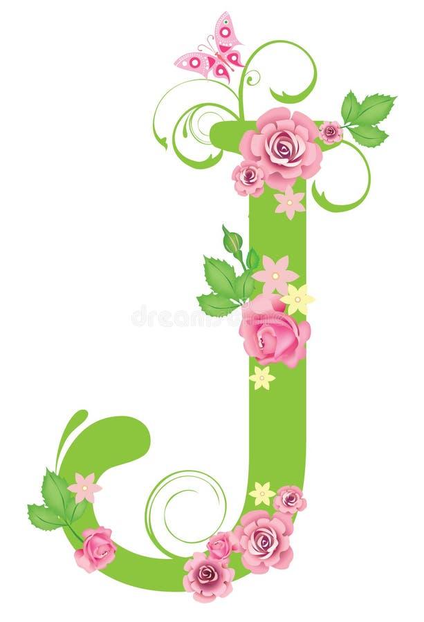 Zeichen J mit Rosen vektor abbildung