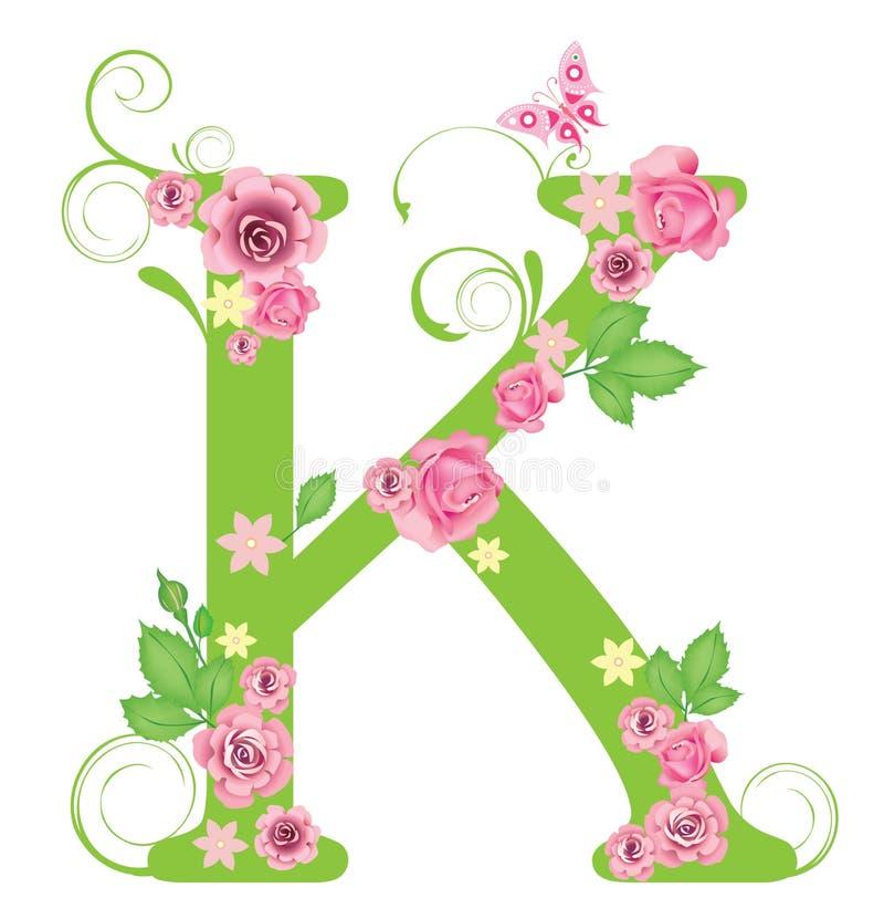 Zeichen K mit Rosen vektor abbildung
