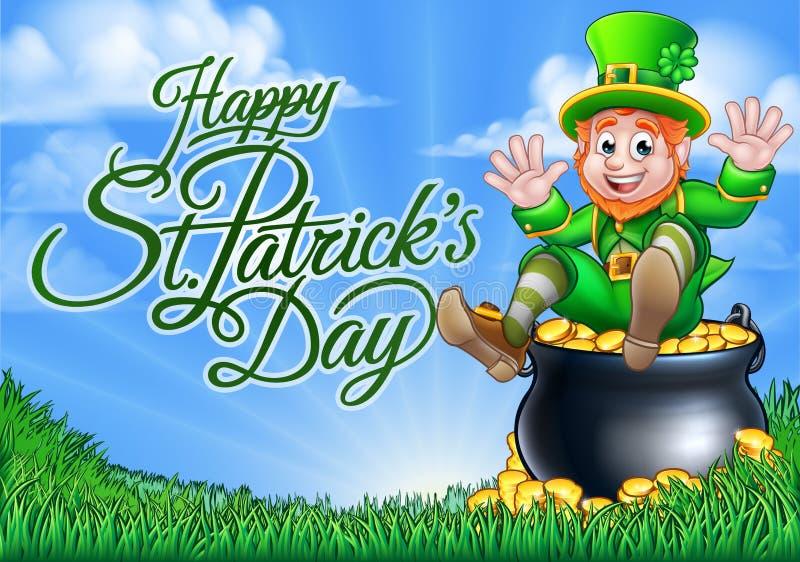 Zeichen Kobold-und Goldschatz-St. Patricks Tages stock abbildung