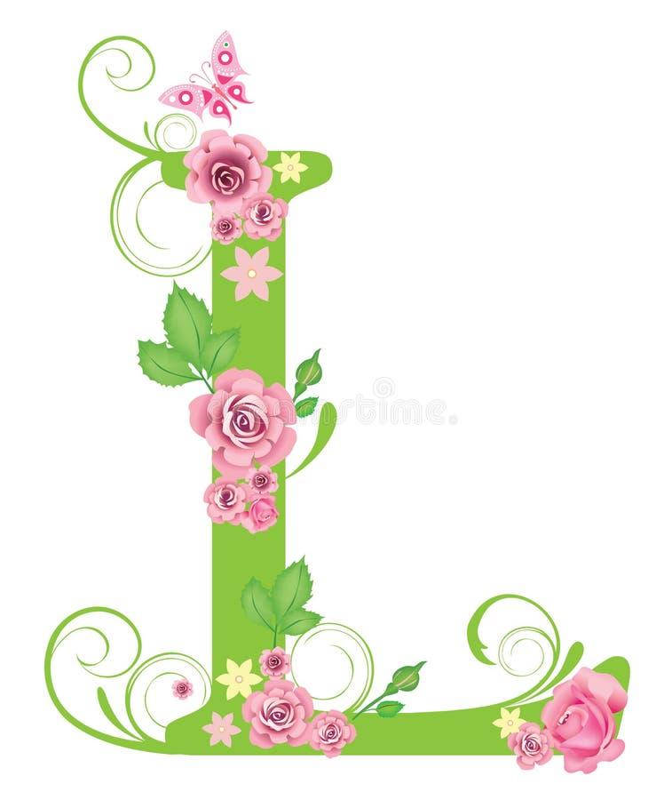 Zeichen L mit Rosen stock abbildung
