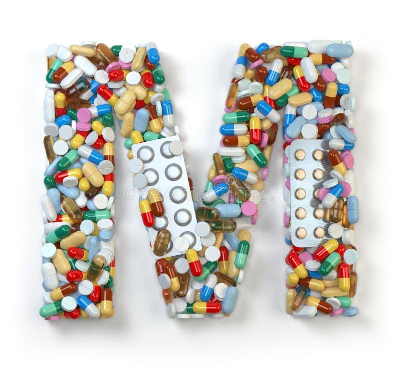 Zeichen M Satz des Alphabetes der Medizinpillen, Kapseln, Tabletten stock abbildung