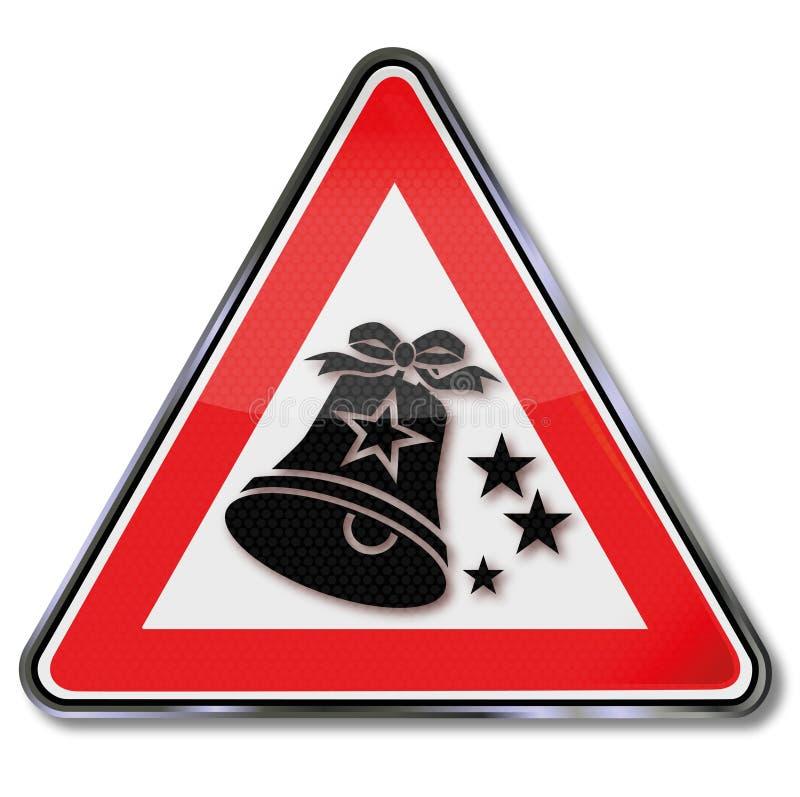 Zeichen mit einer Weihnachtsglocke lizenzfreie abbildung