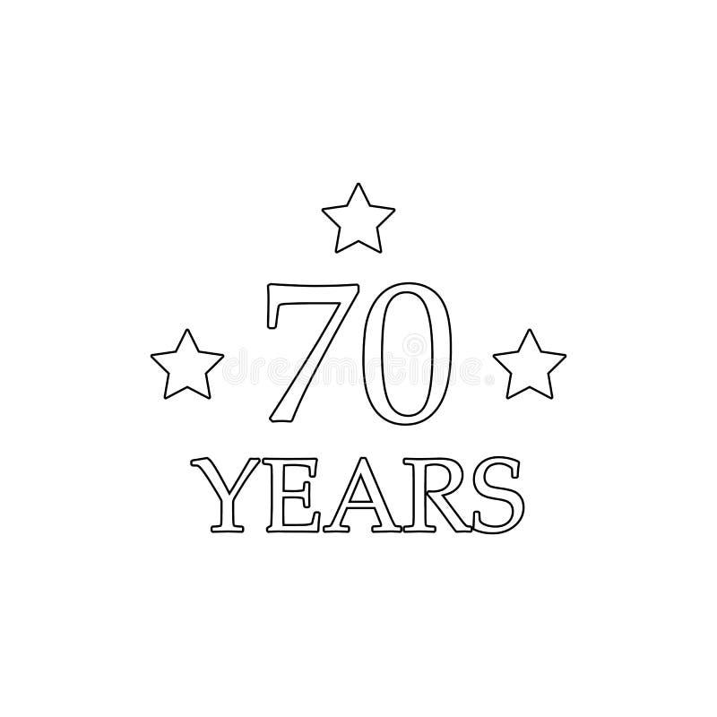 Zeichen mit 70 Jahrestagen Element der Jahrestagsillustration Erstklassige Qualit?tsgrafikdesignikone Zeichen und Symbolsammlungs vektor abbildung