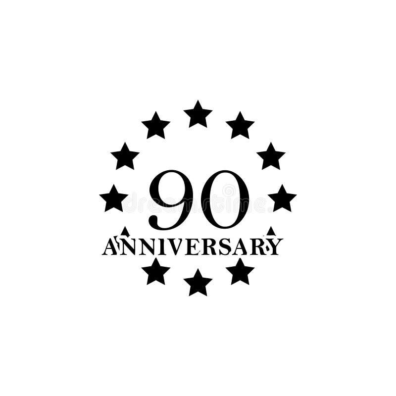 Zeichen mit 90 Jahrestagen Element des Jahrestagszeichens Erstklassige Qualitätsgrafikdesignikone Zeichen und Symbolsammlungsikon stock abbildung