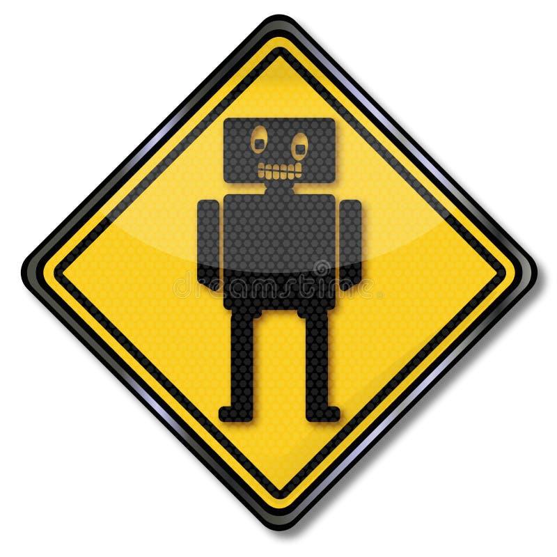 Zeichen mit kleinem Spielzeugroboter lizenzfreie abbildung