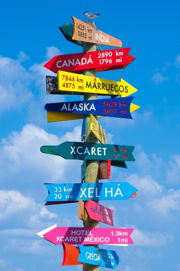 Zeichen mit Richtungen zu allen Parks besessen durch die XCaret-Gruppe in Mexiko lizenzfreies stockfoto