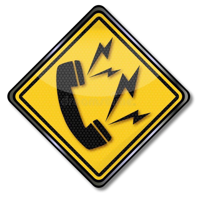 Zeichen mit Telefon, Kontaktbruch und Linie fallen aus vektor abbildung