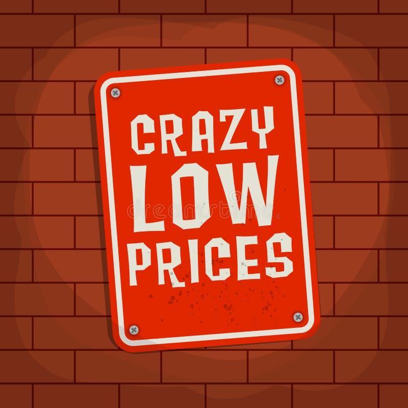 Zeichen mit Text verrücktem niedrigem Preis lizenzfreie abbildung