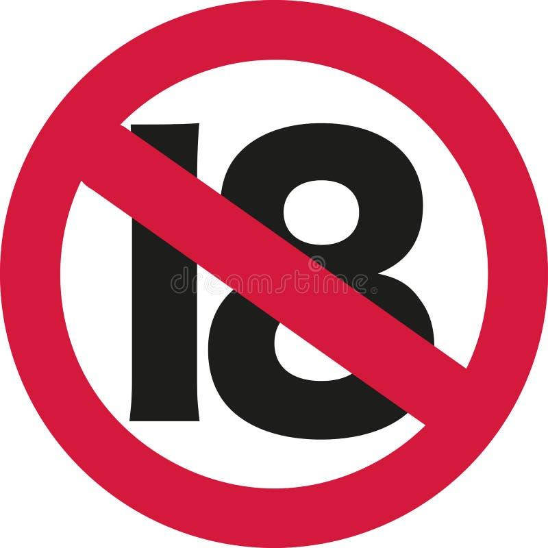 Zeichen mit 18 Verboten - 19. Geburtstag vektor abbildung
