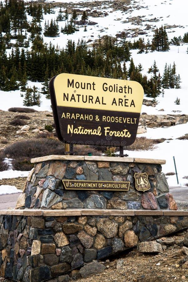 Zeichen Mt Evans Mount Goliath National Park lizenzfreie stockfotografie