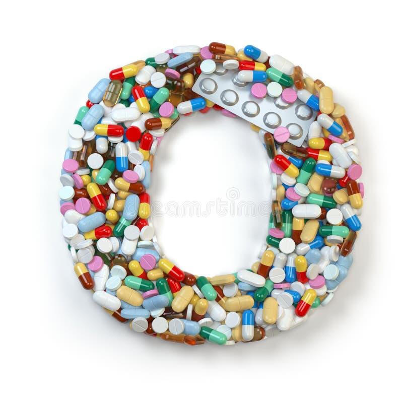 Zeichen O Satz des Alphabetes der Medizinpillen, Kapseln, Tabletten a stock abbildung