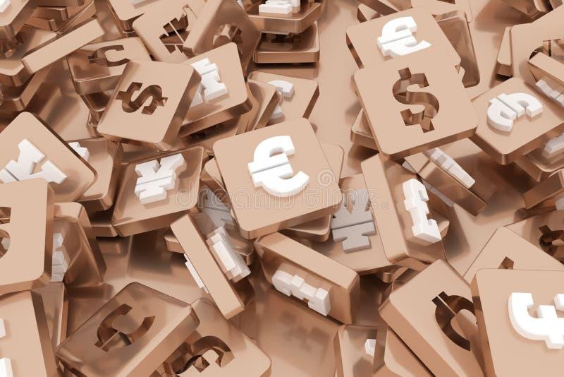 Zeichen oder Symbol, Bündel Währung u. Zahlcharakter für Entwurfsbeschaffenheit, Hintergrund 3d ?bertragen lizenzfreie abbildung