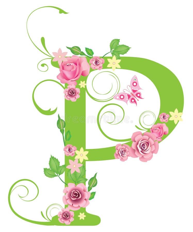 Zeichen P mit Rosen vektor abbildung