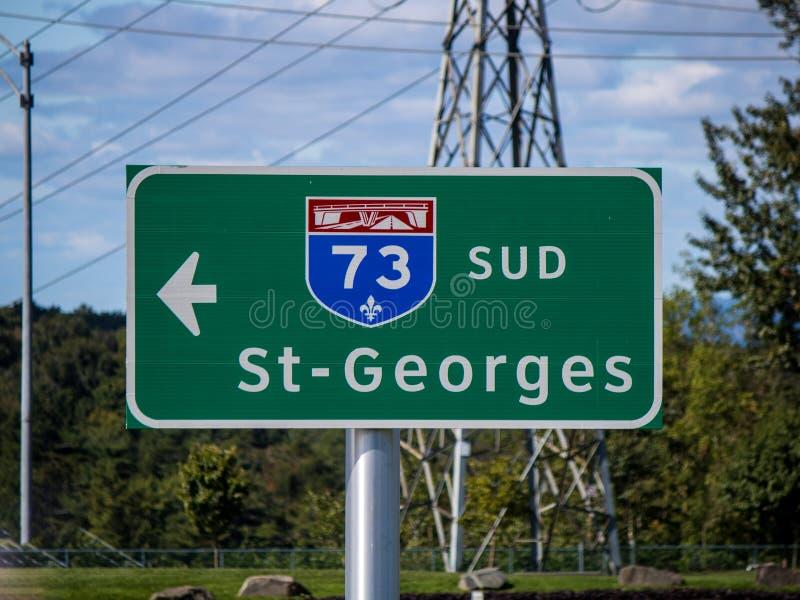 Zeichen Quebec-Landstraßen-73 Süd zu St. Georges From Quebec City stockbild
