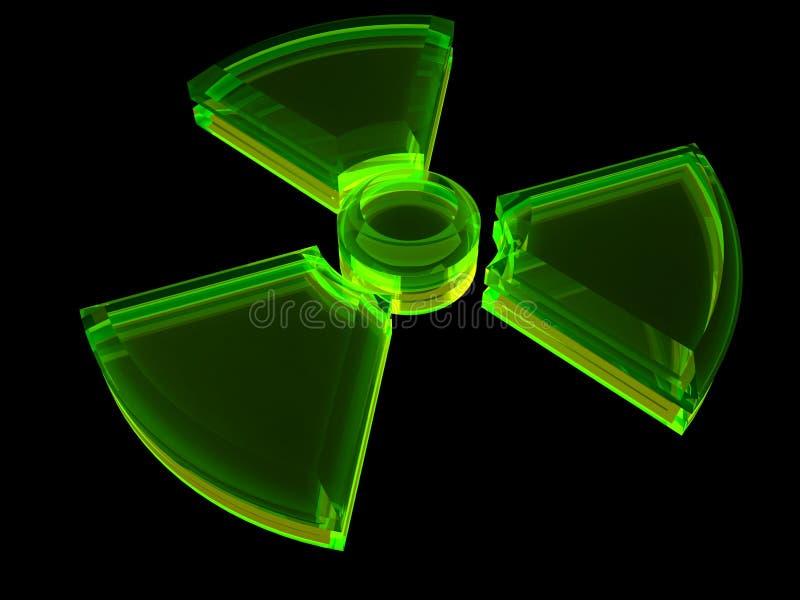 Zeichen - radioaktive Gefahr mit Fluoreszenz stock abbildung