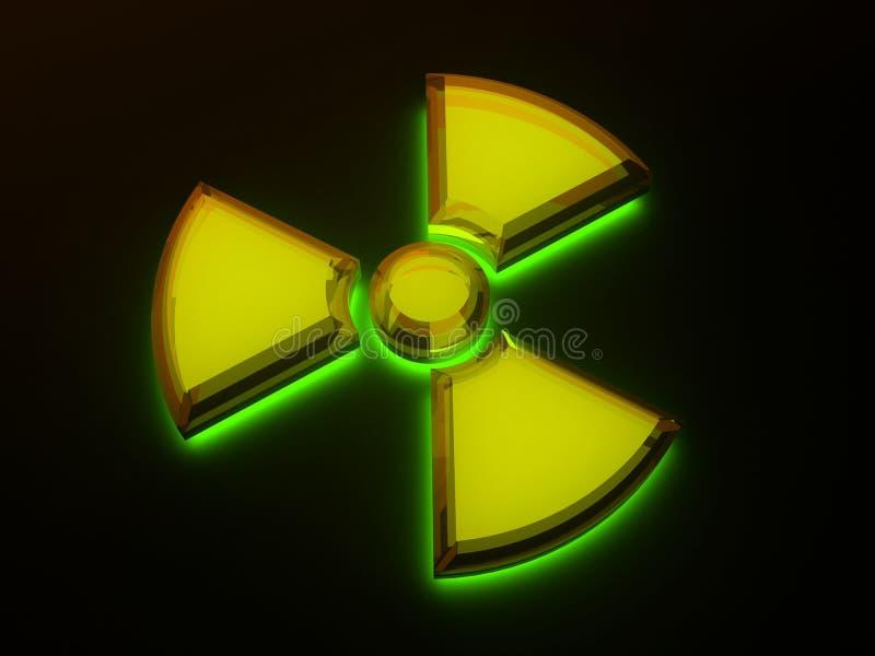 Zeichen - radioaktive Gefahr mit Fluoreszenz vektor abbildung