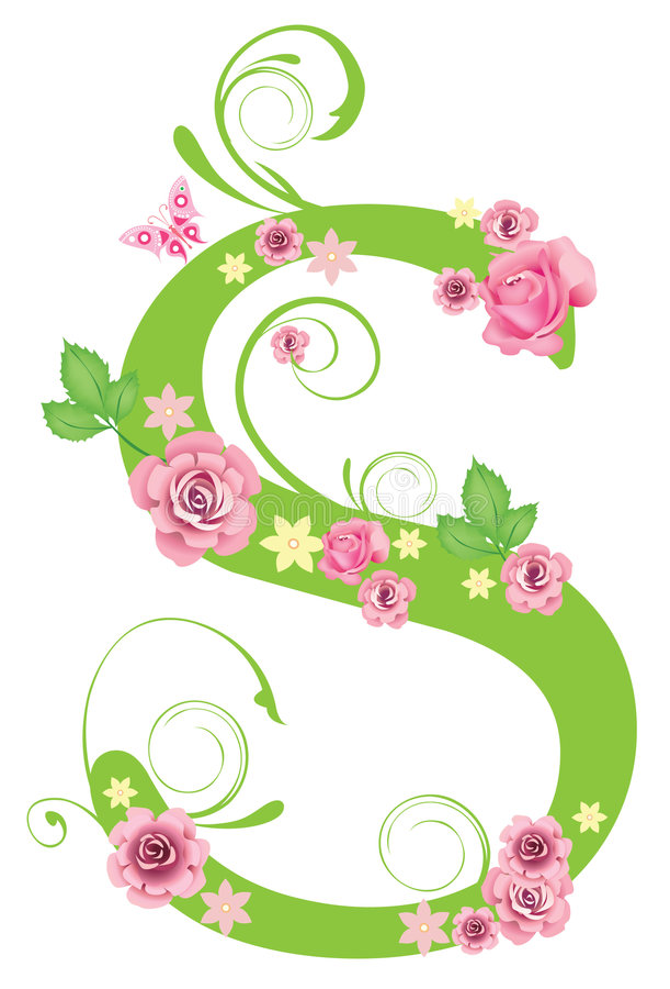 Zeichen S mit Rosen lizenzfreie abbildung