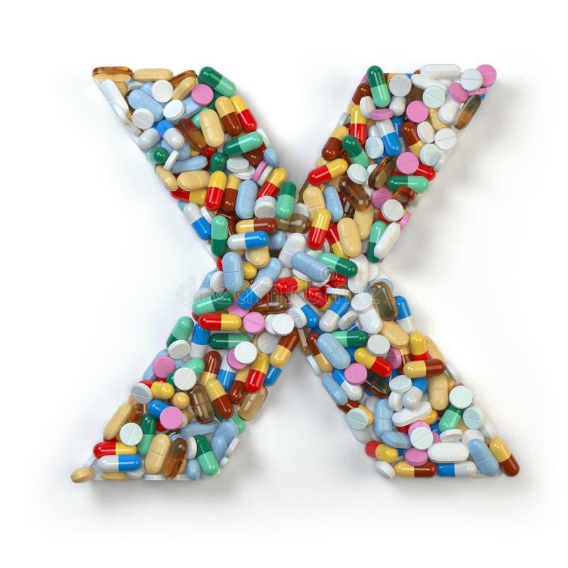 Zeichen X Satz des Alphabetes der Medizinpillen, Kapseln, Tabletten a stock abbildung