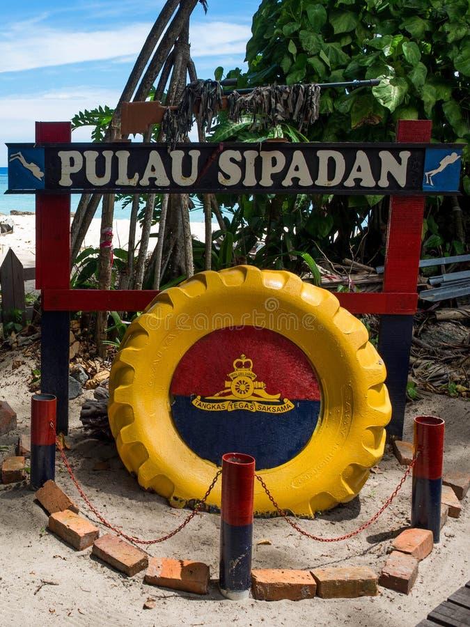 Zeichen in Sipadan-Insel, Sabah, Malaysia lizenzfreie stockfotos