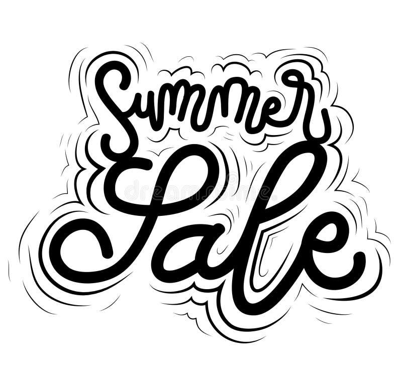 Zeichen-Sommerschlussverkauf, Ikone für Ihr Netz, Aufkleber, dynamischer Entwurf Handgezogene Kunstelemente Vektor IL vektor abbildung