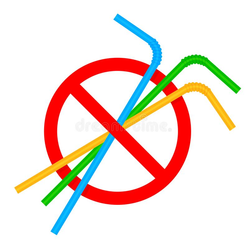 Zeichen stoppen Strohrohrplastik, Ablehnung des Wegwerfplastiktrinkhalms zugunsten der Trinkhalme, Verbotplastiktrinken stock abbildung