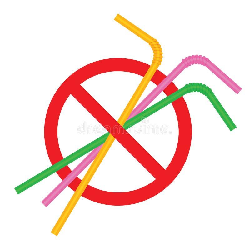 Zeichen stoppen Strohrohrplastik, Ablehnung des Wegwerfplastiktrinkhalms zugunsten der Trinkhalme, Verbotplastiktrinken lizenzfreie abbildung