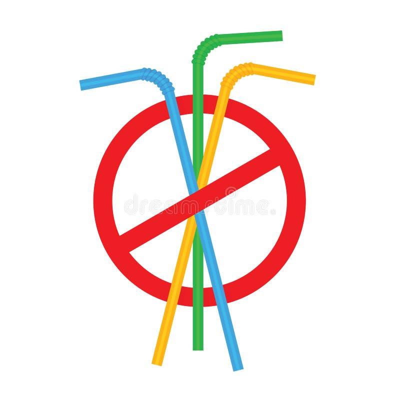 Zeichen stoppen Strohrohrplastik, Ablehnung des Wegwerfplastiktrinkhalms zugunsten der Trinkhalme, Verbotplastiktrinken vektor abbildung