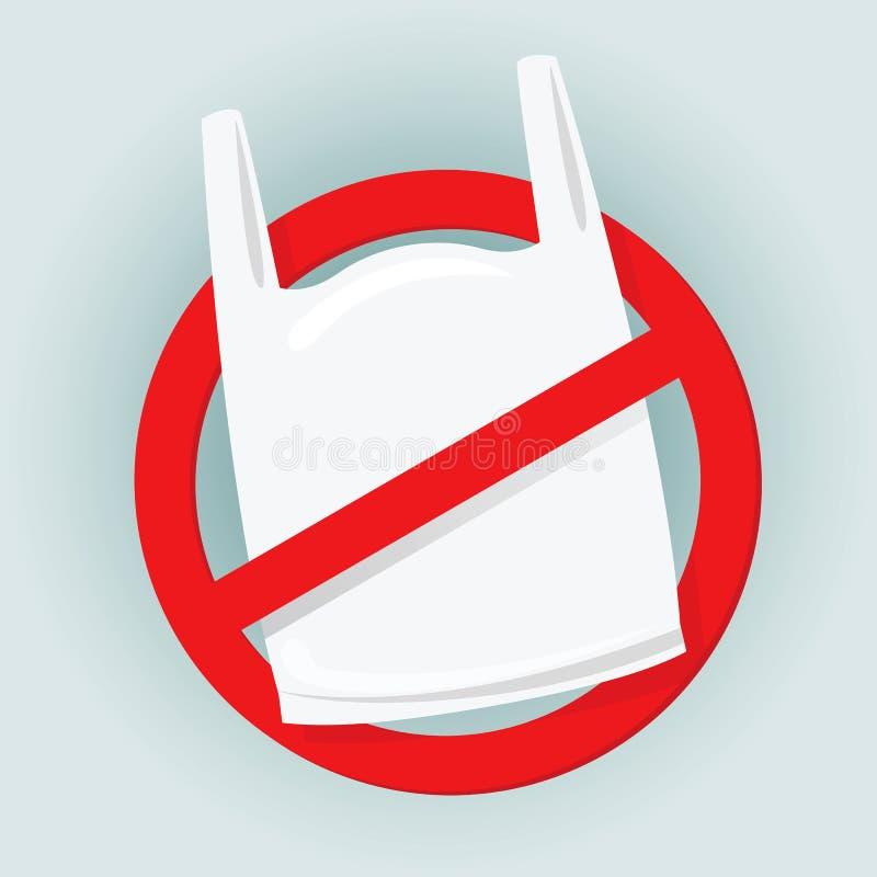 Zeichen stoppen unter Verwendung des Taschenplastikabfalls, Ablehnung von Wegwerfplastiktaschen, Plastiktasche des Verbots, rote  stock abbildung