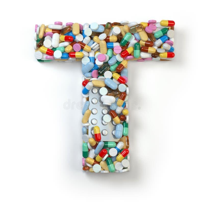 Zeichen T Satz des Alphabetes der Medizinpillen, Kapseln, Tabletten a stock abbildung