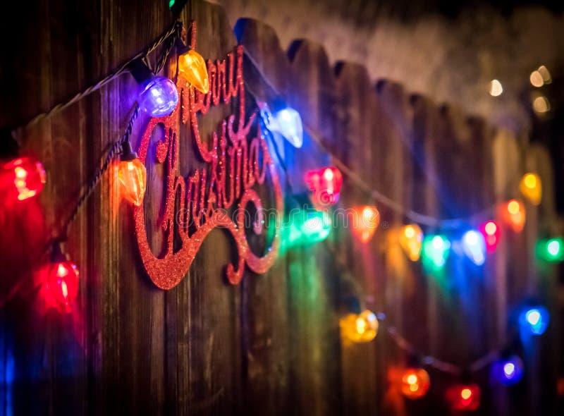 Zeichen und Lichter der frohen Weihnachten stockfotos