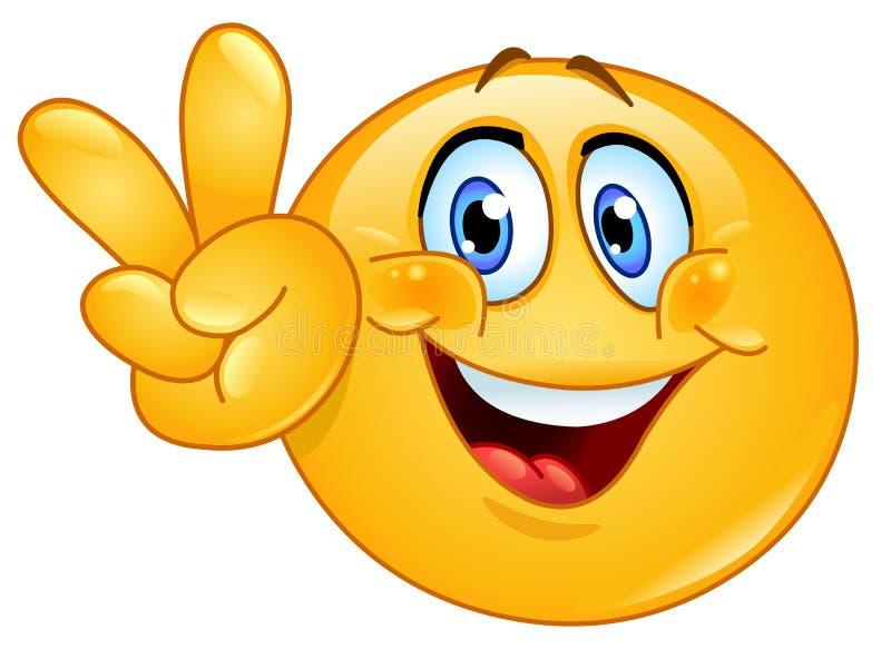 Zeichen V Emoticon stock abbildung