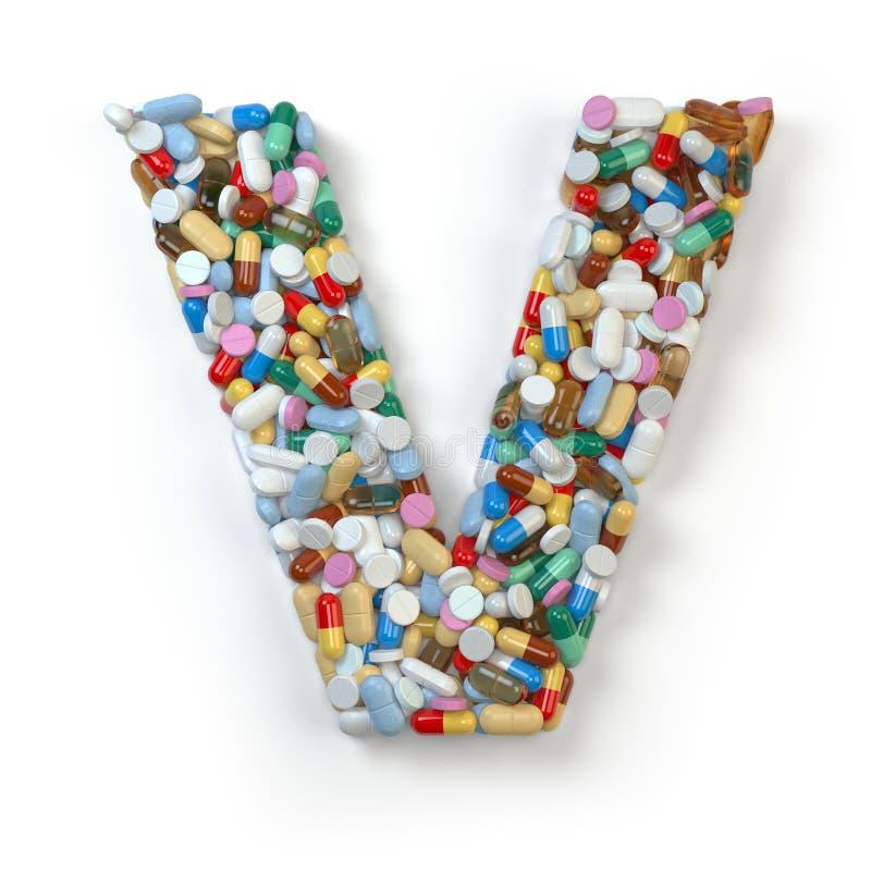 Zeichen V Satz des Alphabetes der Medizinpillen, Kapseln, Tabletten a stock abbildung