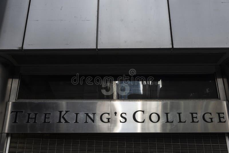 Zeichen von College des Königs in Manhattan, New York City, USA stockbilder