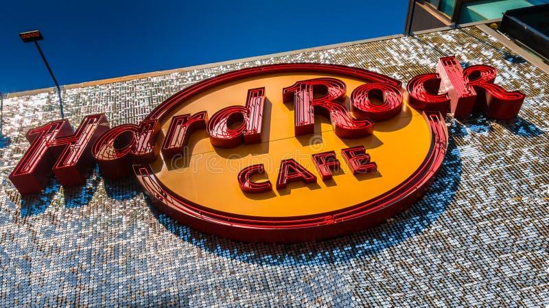 Zeichen von Hard Rock Cafe Hollywood bei Hollywood Boulevard stockfoto