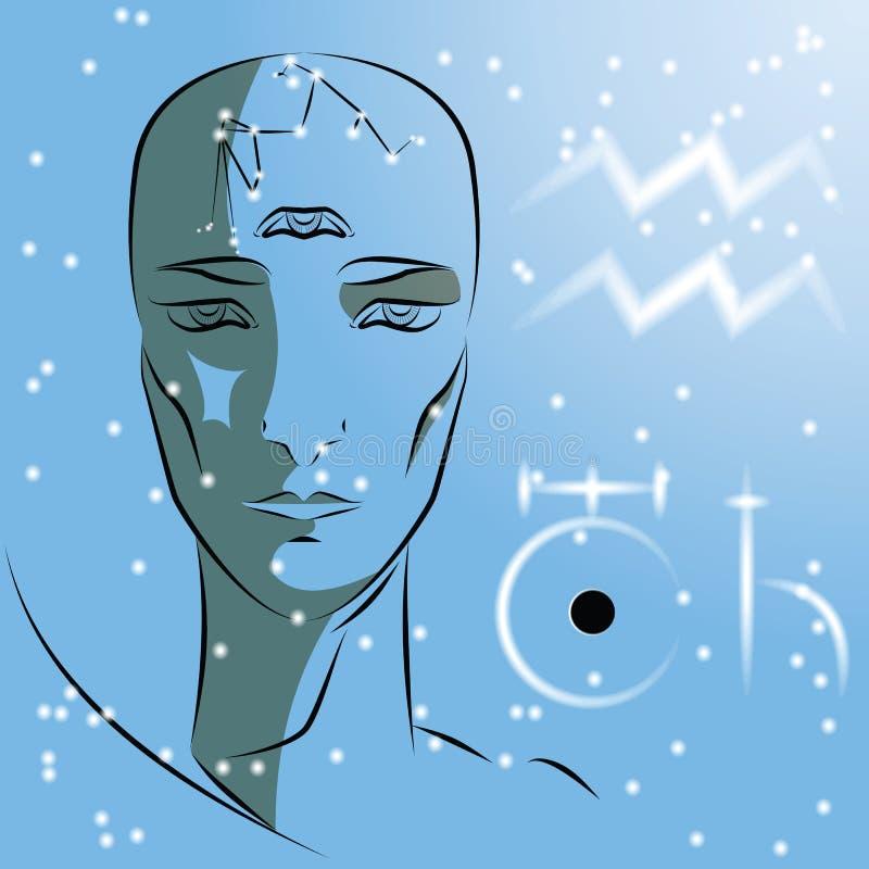 Zeichen von Tierkreis Wassermann vektor abbildung