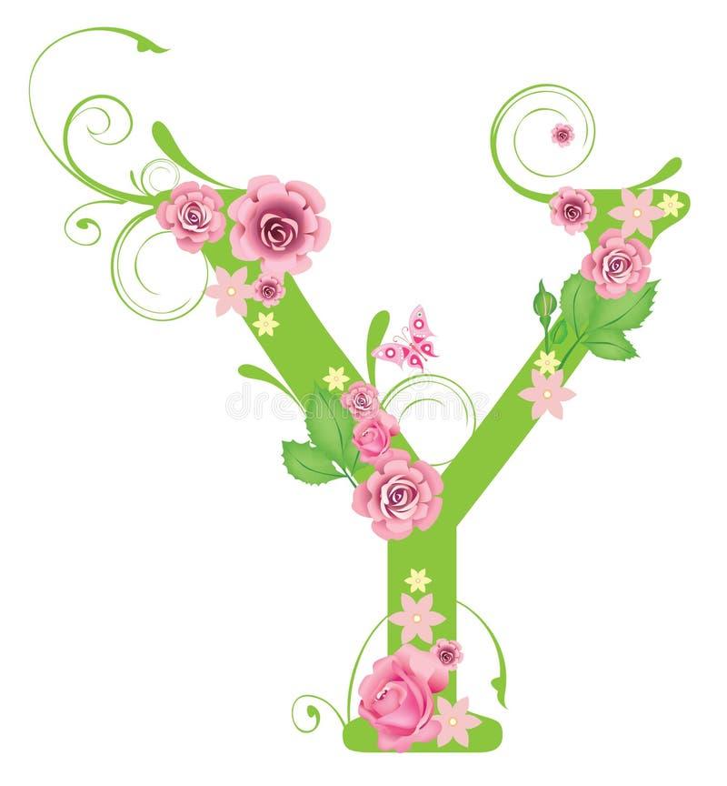 Zeichen Y mit Rosen vektor abbildung