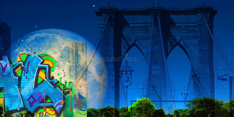 Zeichen, Ziegelsteine, nahe der Brooklyn-Brücke vektor abbildung