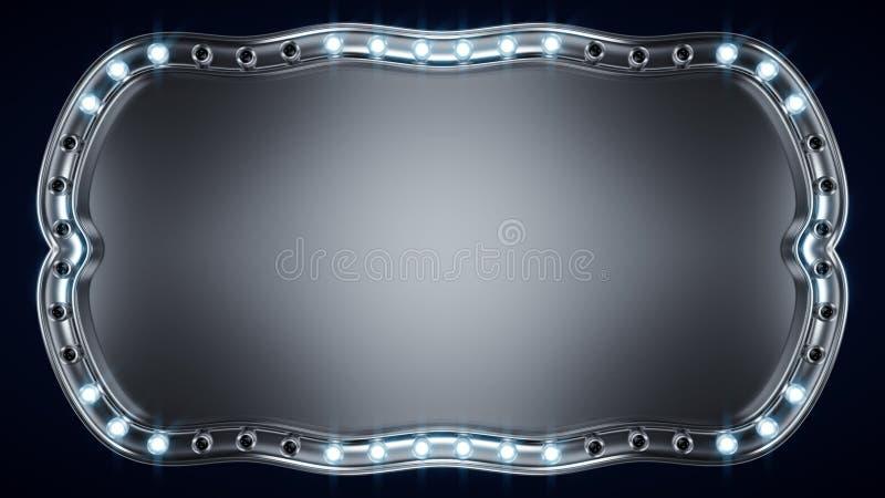 Zeichenbrett mit glühenden Glühlampen 3D übertragen stock abbildung