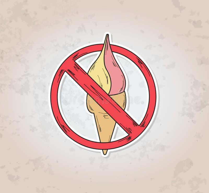 Zeicheneintrittsverbot-Eiscreme lizenzfreie abbildung